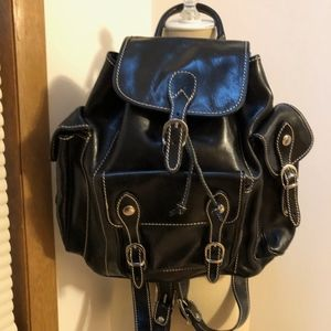 "FLOTO BLACK LEATHER ""ROMA"" BACKPACK *BRAND NEW*"